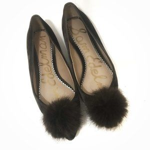 Sam Edelman Raddie Faux Fur Pom Velvet Flats 5.5